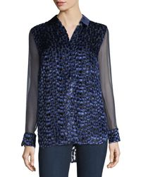 Elie Tahari Blue Martha Long-sleeve Snap-front Textured Blouse