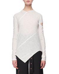 Proenza Schouler White Long-sleeve Spiral Tissue Jersey T-shirt