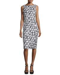 Michael Kors Black Floral-Embellished Sheath Dress