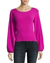 MILLY - Pink Voluminous Bishop-sleeve Pullover - Lyst
