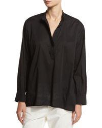 Vince - Black Kimono-sleeve Split-neck Pullover - Lyst