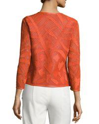 ESCADA | Orange Leaf-cut Leather 3/4-sleeve Jacket | Lyst