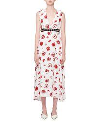 Proenza Schouler White Sleeveless Poppy-print Midi Dress