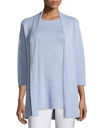 Eileen Fisher | Blue 3/4-sleeve Silk-cotton Interlock Cardigan | Lyst