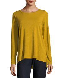 Eileen Fisher Yellow Long-sleeve Slubby Organic Cotton Jersey Tee