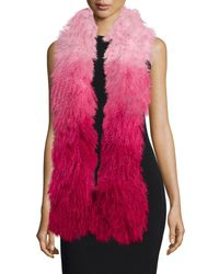 Charlotte Simone - Pink Shaggy Fur Gradient Stole - Lyst