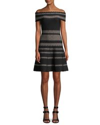 Hervé Léger Black Off-the-shoulder Wavy Jacquard Cocktail Dress