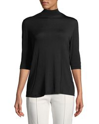 ESCADA - Black Mock-neck 3/4-sleeve Knit Pullover Top - Lyst
