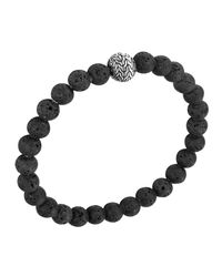 John Hardy - Black Men's Batu Classic Chain Volcanic Bead Bracelet for Men - Lyst