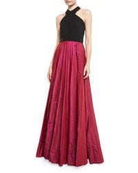 Carmen Marc Valvo - Multicolor Sleeveless Beaded Jersey & Taffeta Ball Gown - Lyst