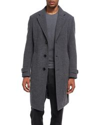 Ermenegildo Zegna Gray Four-button Cashmere Boucle Overcoat for men