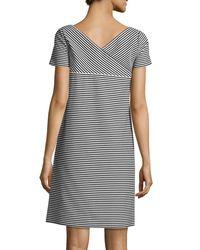 Lafayette 148 New York - Black Cross-back Textured Striped Jersey Shift Dress - Lyst