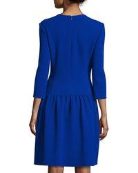 Oscar de la Renta | Blue 3/4-sleeve Dropped-waist Dress | Lyst