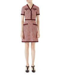 Gucci Red Striped Tweed V-neck Dress