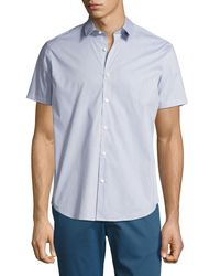 Theory - Blue Zack S. Grid Dobby Short-sleeve Shirt for Men - Lyst