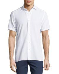 Ermenegildo Zegna - White Seersucker Cotton Short-sleeve Shirt for Men - Lyst