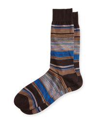 Pantherella - Blue Moxon Space-dye Striped Half-calf Socks for Men - Lyst