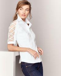 Finley | Black Burnout-sleeve Button-front Blouse | Lyst