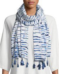 Eileen Fisher - Blue Shibori Striped Organic Cotton Scarf - Lyst