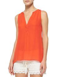 Joie - Orange Aruna Split-neck Silk Top - Lyst