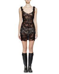 Saint Laurent Black Sleeveless Metallic-lace Ruched Dress