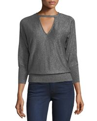 MILLY - Gray Italian Shimmer Cutout Sweater - Lyst