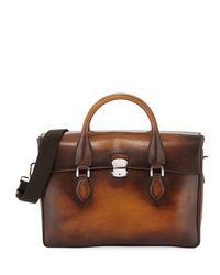 Berluti Brown Iii Gloria Leather Briefcase for men