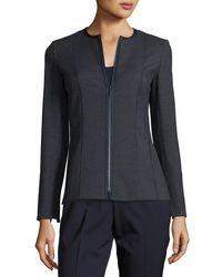 Lafayette 148 New York - Blue Damien Grotto Pindot Weave Zip Jacket - Lyst