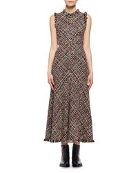Alexander McQueen - Multicolor Wishing Tree Tweed Sleeveless Midi Dress - Lyst