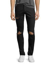 PRPS Black Distressed Stretch-denim Jeans for men