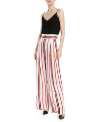 Maggie Marilyn Red Love Unconditionally Striped Silk Wide-leg Pants