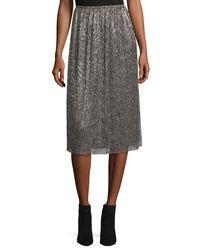 Halston Heritage - Multicolor Metallic Jersey Midi Skirt - Lyst