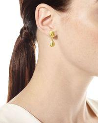 Elizabeth Locke Metallic 19k Gold Dome & Pear Drop Earrings