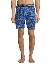 Versace - Blue Barocco Net Long Swim Trunks for Men - Lyst