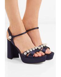 Miu Miu Blue Crystal-embellished Satin Platform Sandals