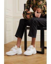 Roger Vivier White Viv' Run Sneakers Aus Leder Mit Shearling-besatz Und Kristallen
