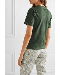 Acne Green Ewanda T-shirt Aus Baumwoll-jersey Mit Stickereien