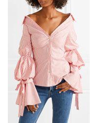 Caroline Constas Multicolor Margaret Off-the-shoulder Striped Cotton-poplin Shirt