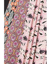Prada Pink Paneled Striped Poplin And Floral-print Crepe Blouse