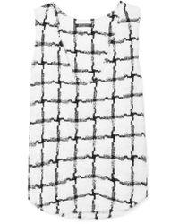 Balmain White Frayed Checked Tweed Tank