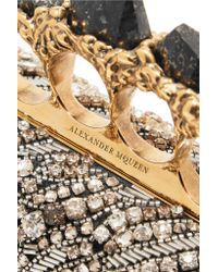 Alexander McQueen Black Knuckle Embellished Satin Clutch