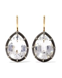 Fred Leighton - Metallic Collection 18-karat Gold, Sterling Silver And Topaz Earrings Gold One Size - Lyst