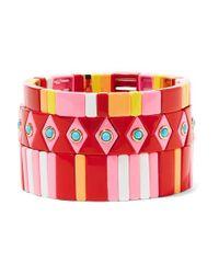 Roxanne Assoulin Pink Hibiscus Set Aus Drei Armbändern Mit Emaille