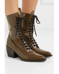 Chloé Brown Rylee Glossed-leather Ankle Boots