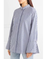 Mother Of Pearl Blue Faux Pearl-embellished Striped Organic Cotton Shirt