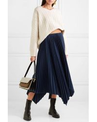 Loewe White Leather-trimmed Cable-knit Wool Sweater