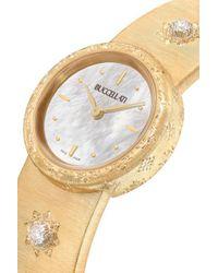 Buccellati Metallic Macri 24 Mm Uhr Aus 18 Karat Gold Mit Diamanten