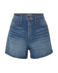 Madewell Blue The Perfect Vintage Jeansshorts Mit Fransen