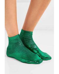 Maria La Rosa Green Socken Aus Einer Seidenmischung Mit Metallic-beschichtung