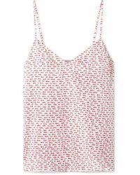 Stella McCartney White Ellie Leaping Printed Stretch-silk Satin Camisole